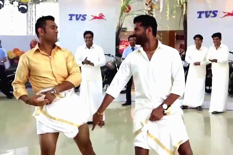 Watch Behind the scenes of Prabhudeva teaching Dhoni how to koothu in a veshti