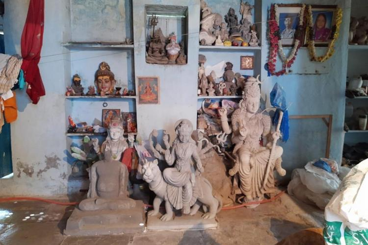 The house of an idol maker in Dhoolpet in Hyderabad