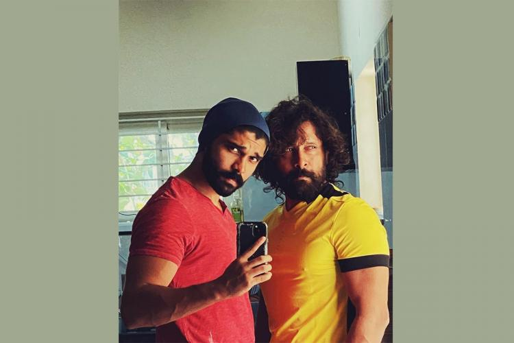 Actor Dhruv Vikram on the left and his father actor Chiyaan Vikram on the right