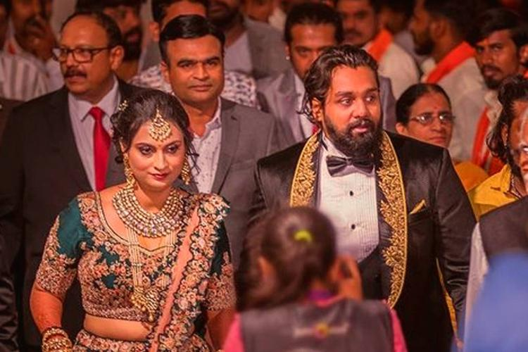 Dhruva Sarja and his wife Prerna Shankar dressed in couture for their wedding celebrations