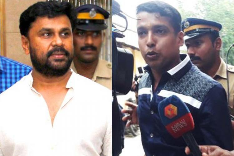 Dileep in white shirt and beard on the left flanked by police and on the right is Pulsar Suni facing a microphone alongside police