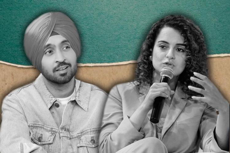 A black and white photo collage of Diljit Dosanjh and Kangana Ranaut speaking on a mic