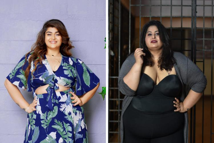 Collage of body Positivity Influencers Payal Soni and Dipti Bharwani Payal in a blue and Dipti in a black attire