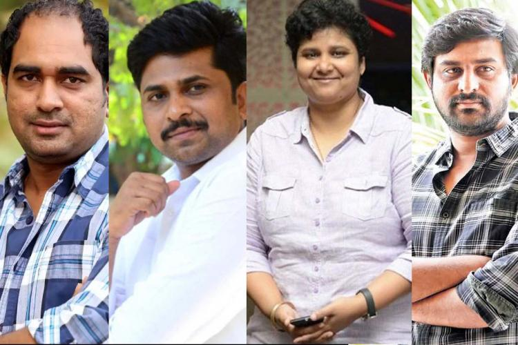 Three male and one female Telugu directors in a collage posing for a picture