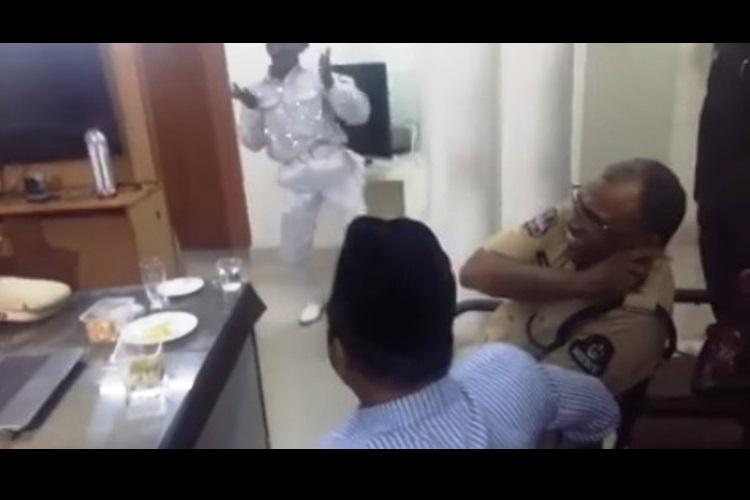 Video Watch arrested Disco Baba dance for Hyderabad police Charminar MLA