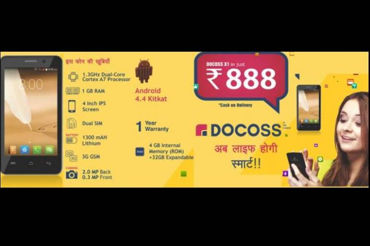 After Freedom 251 and mPhone Docoss launches smartphone for Rs 888