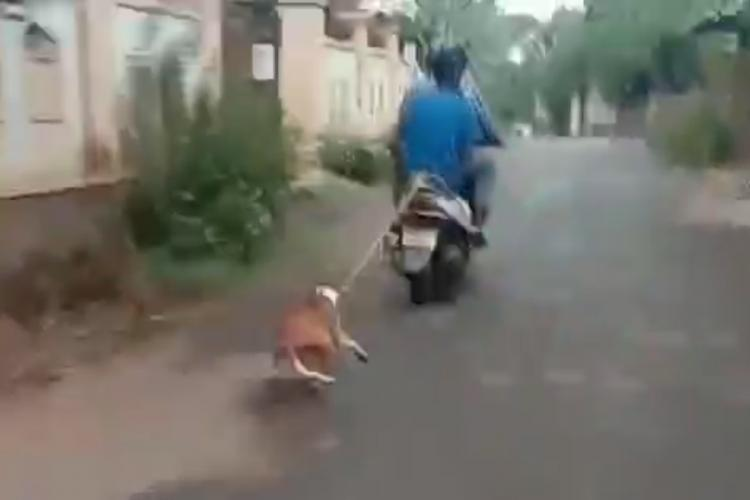 A man tied a dog behind his moving scooter using a rope in Kerala