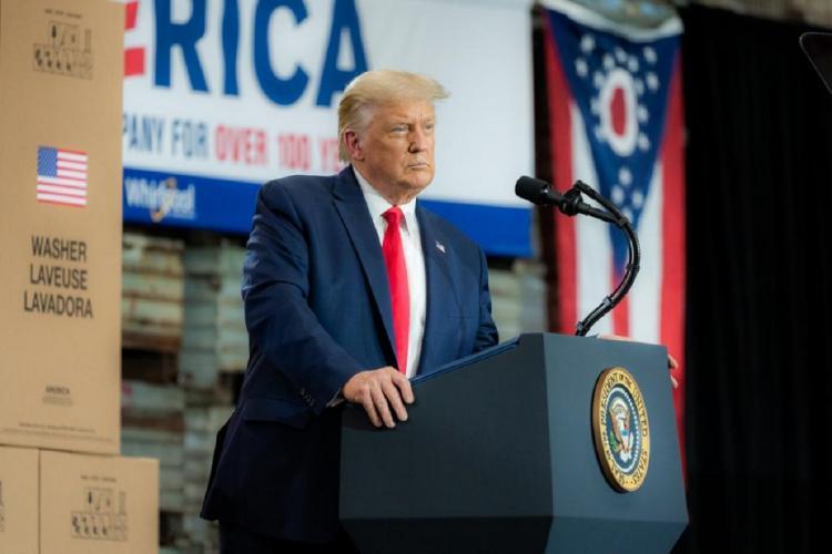 Donald Trump addressing a meeting