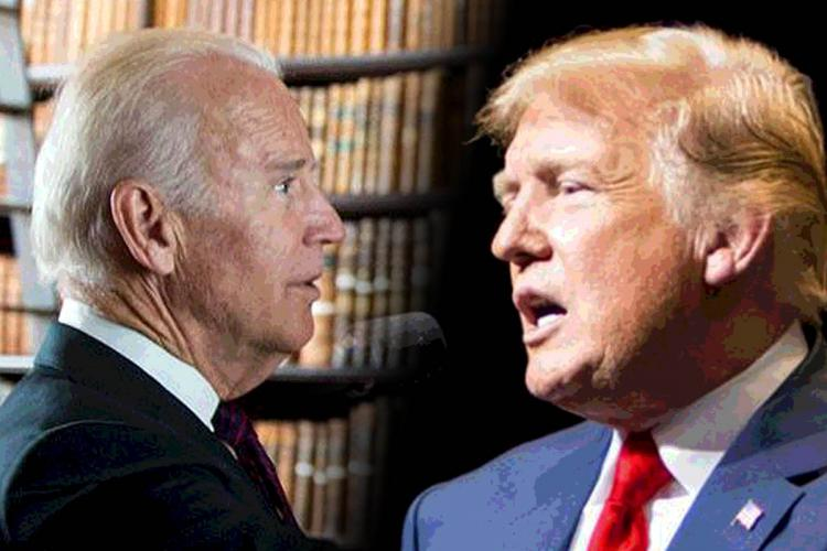 Collage of Joe Biden and Donald Trump facing off against each other