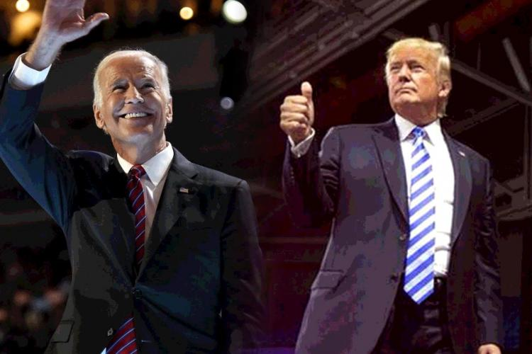 Donald Trump and Joe Biden wear suits and gesture to the crowd