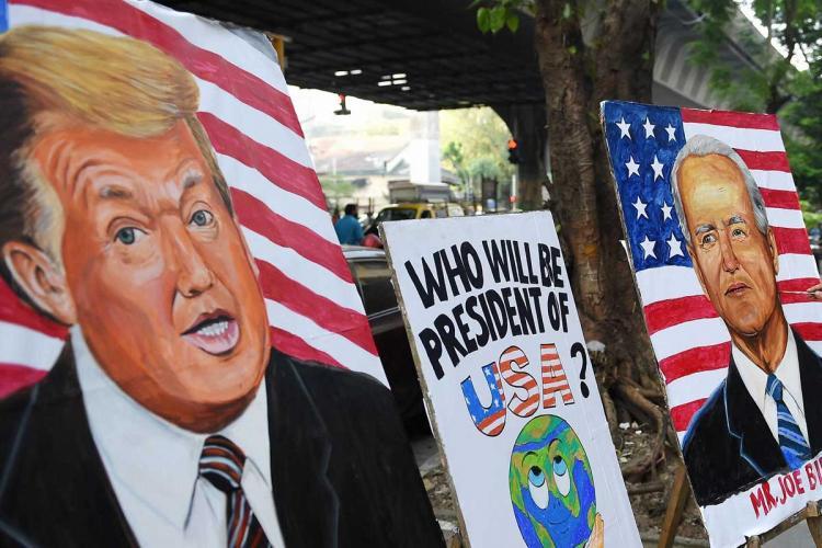 Posters of Donald Trump and Joe Biden