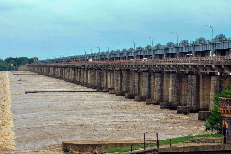Image of Dowleswaram barrage near Rajamahendravaram where the first flood warning was received on Saturday in Andhra Pradesh