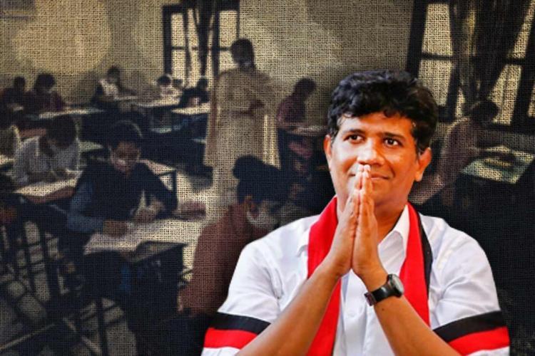 A photo of DMK MLA Ezhilan Naganathan against a background of a classroom