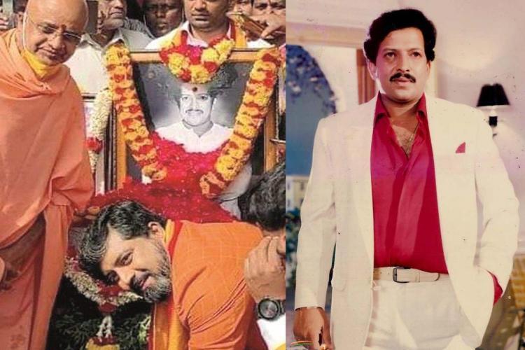 A collage of Aniruddha Jatkar at the foundation-laying ceremony and Dr Vishnuvardhan