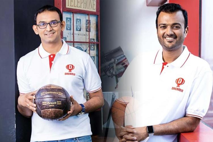 Founders of Dream11 wearing the tshirts
