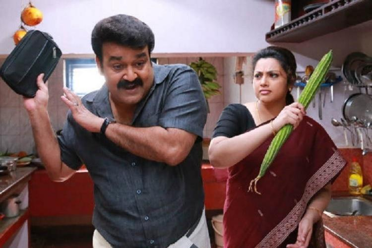 Mohanlal and Meena in a home scene in Drishyam