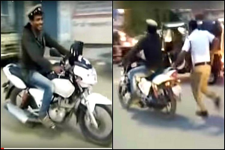 Drunk man steals policemans bike in Ktaka rides away for a kilometre before hes caught