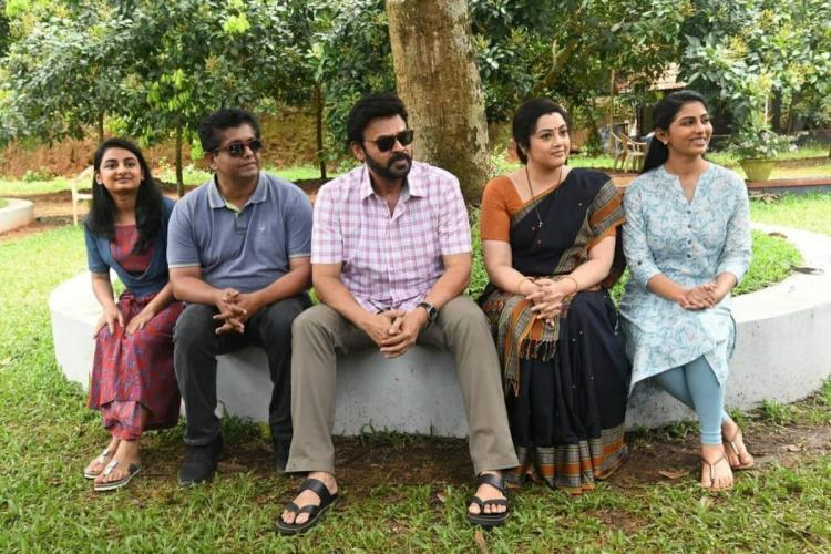 The lead actors from Drushyam 2 including Meena Venkatesh Daggubati and Esther Anil among others are seen in the image