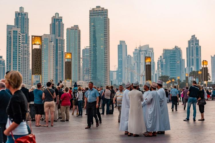Dubai town in which people can be seen roaming here and there amidst tall buildings