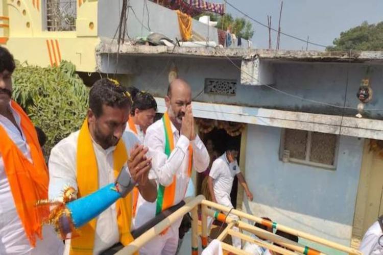 BJPs Raghunandan Rao and State Chief Bandi Sanjay during campaign
