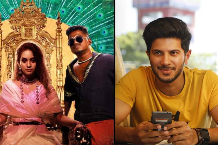 An image from the album Enjoy Enjaami on the left and actor Dulquer Salmaan on the right