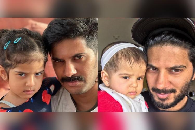 Dulquer is seen along with his daughter Maryam in two images