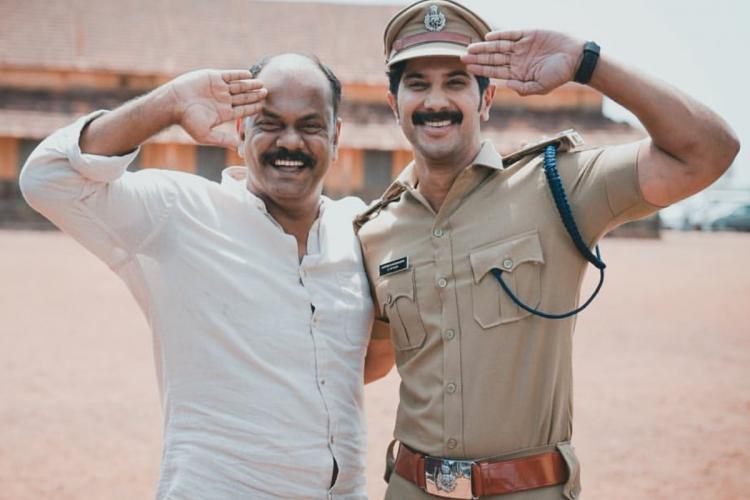 Filmmaker Rosshan on the left and Dulquer seen as a SI on the right