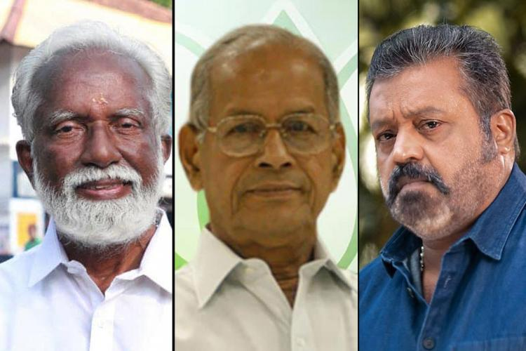 Collage of Kummanam Rajasekharan, E Sreedharan and Suresh Gopi