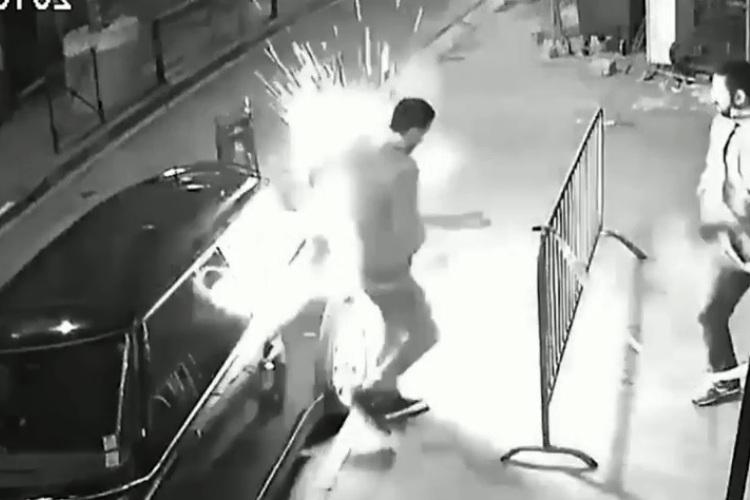 Video E-Cigarette battery explodes in this guys jacket and he has serious burns
