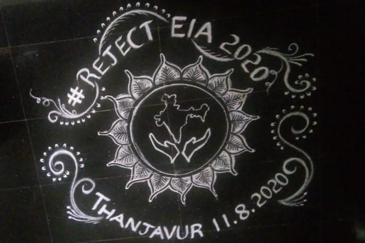 Kolam drawn in Tamil Nadus Thanjavur to protest Draft EIA 2020 A drawing in white against a black background says Reject EIA 2020 with the city and date below