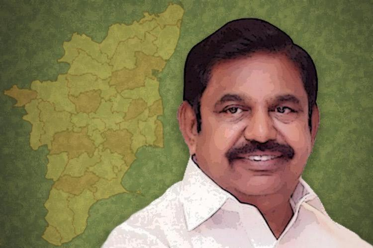 Edappadi K Palaniswami with TN districts in the background