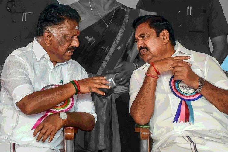Tamil Nadu Chief Minister Edappadi Palaniswami and Deputy CM O Panneerselvam