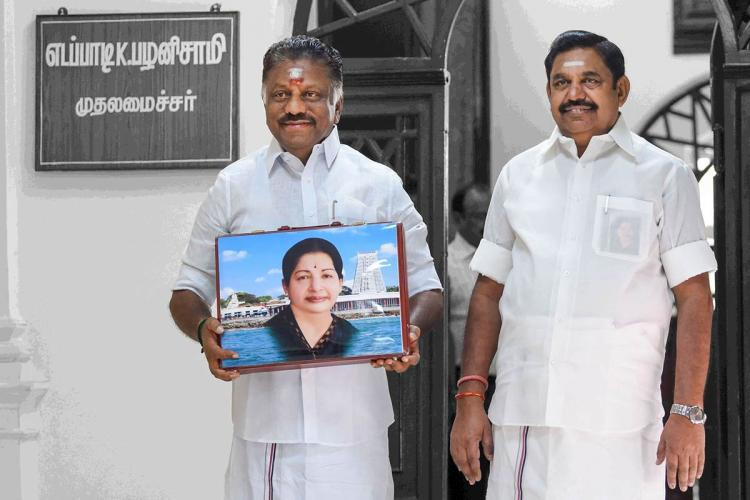 EPS and OPS with photo of Jayalalithaa