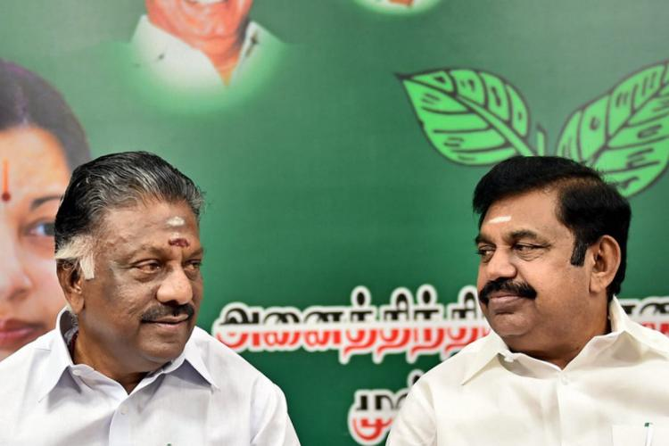 AIADMK coordinator O Panneerselvam and cocoordinator Edappadi K Palaniswami