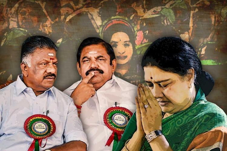 Sasikala Edappadi K Palaniswami O Panneersalvam stylised picture