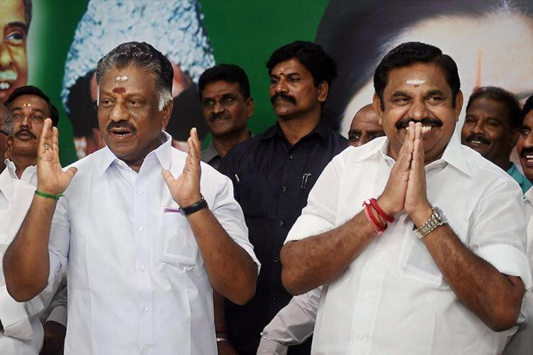 OPS and EPS smile at the AIADMK headquarters in Chennai
