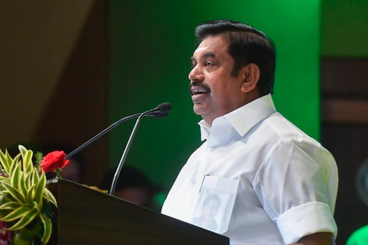 Tamil Nadu Chief Minister Edappadi Palaniswami speaking at an event