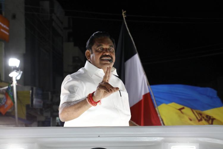 Edappadi Palaniswami speaking at an election rally in Tamil Nadu
