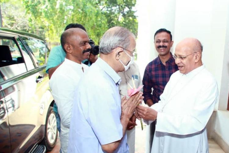 BJPs candidate from Palakkad Metroman E Sreedharan meets Bishop of Palakkad Archdiocese Jacob Manathodath