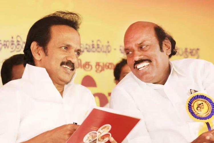 File image of DMK Working President MK Stalin with DMK leader E Velu