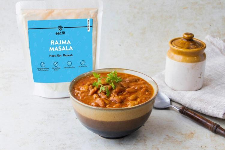 A packet and a bowl of Rajma Masala as part of eat fits new range of products