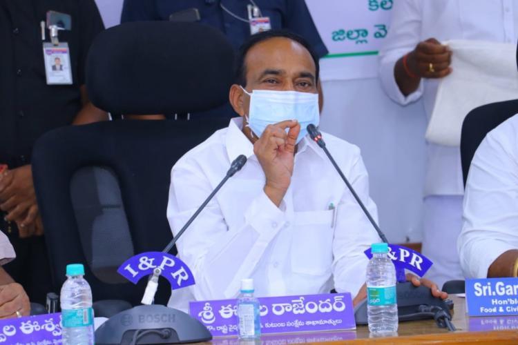 Telangana Health Minister Eatala Rajender addressing at an official meeting