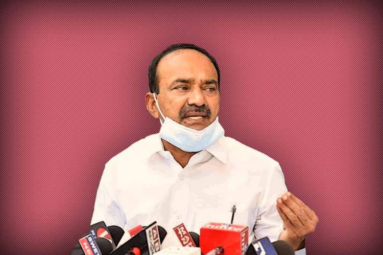 Telangana Health Minister Eatala Rajender addressing the media