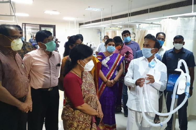 Officials of the Telangana government inspect TIMS in Hyderabad