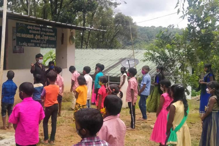 Students at Edamalakkudy Government Tribal LP School Idukki Kerala
