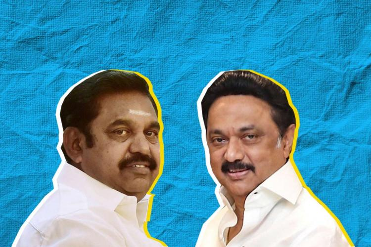 Tamil Nadu CM EPS on the left and DMK chief Stalin on the right