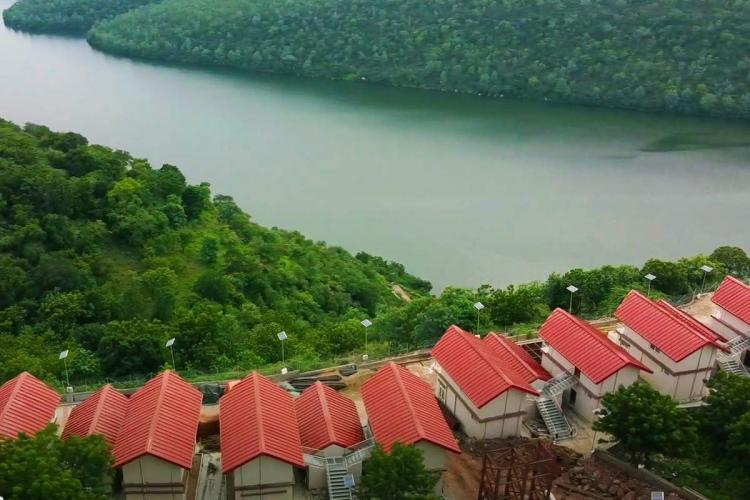 A birds eye view of the cottages at the Haritha Resorts in Eegalapenta
