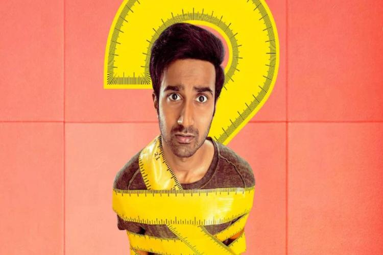 Actor Santosh Sobhan is seen being strangled by a tape in one of the graphic posters from the movie
