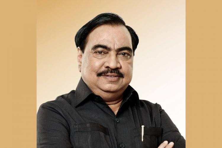 A file photo of politician Eknath Khadse wearing a black shirt and looking into the camera