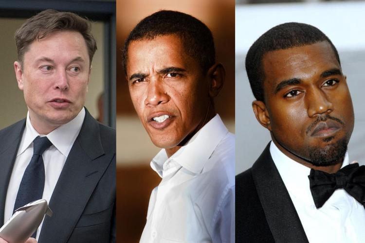 Collage of Tesla CEO Elon Musk former US President Barack Obama and rapper Kanye West whose Twitter accounts were hacked